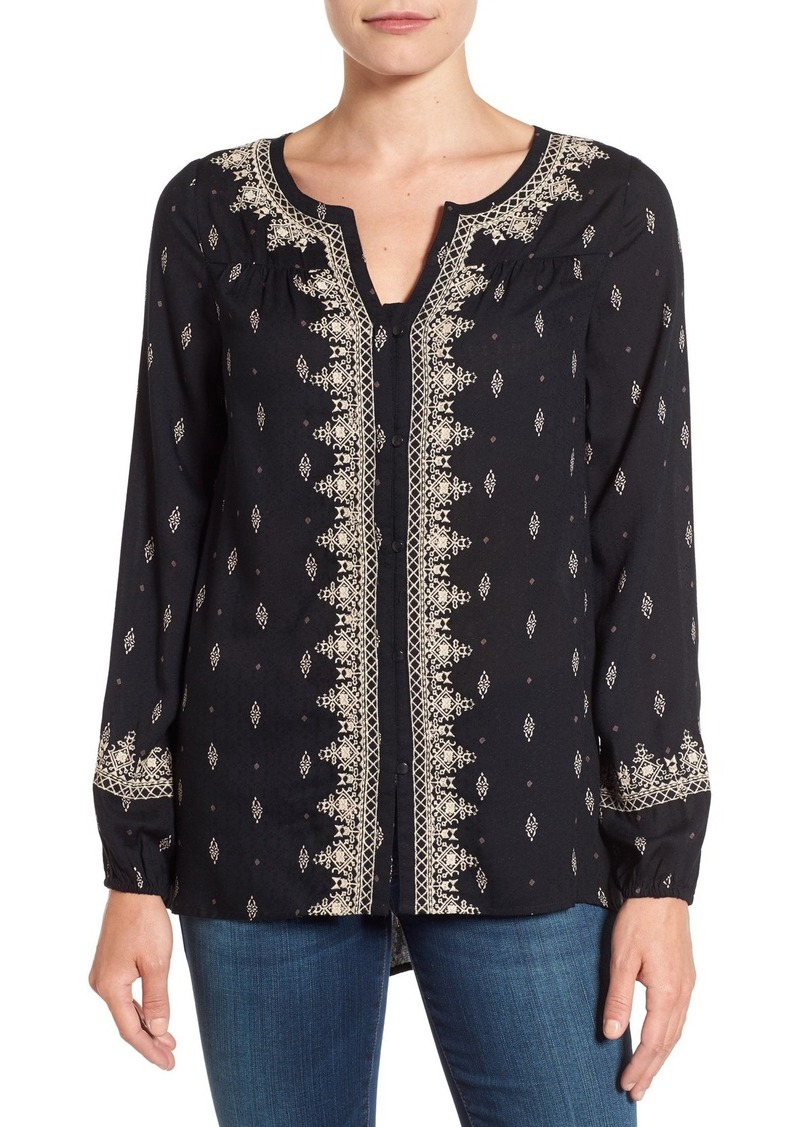 Lucky Brand Embroidered Ditsy Print Top