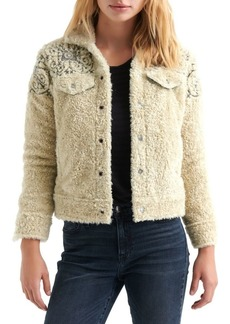 Lucky Brand Embroidered Faux-Shearling Trucker Jacket