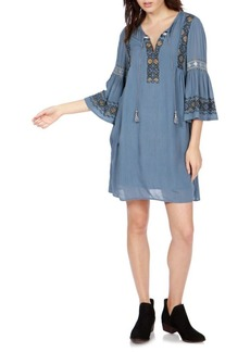 Lucky Brand Embroidered Flare Sleeve Dress