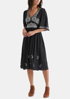 Lucky Brand Embroidered Flutter-Sleeve Dress