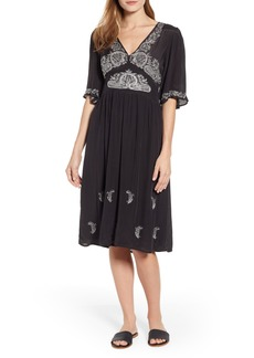 Lucky Brand Embroidered Flutter Sleeve Midi Dress
