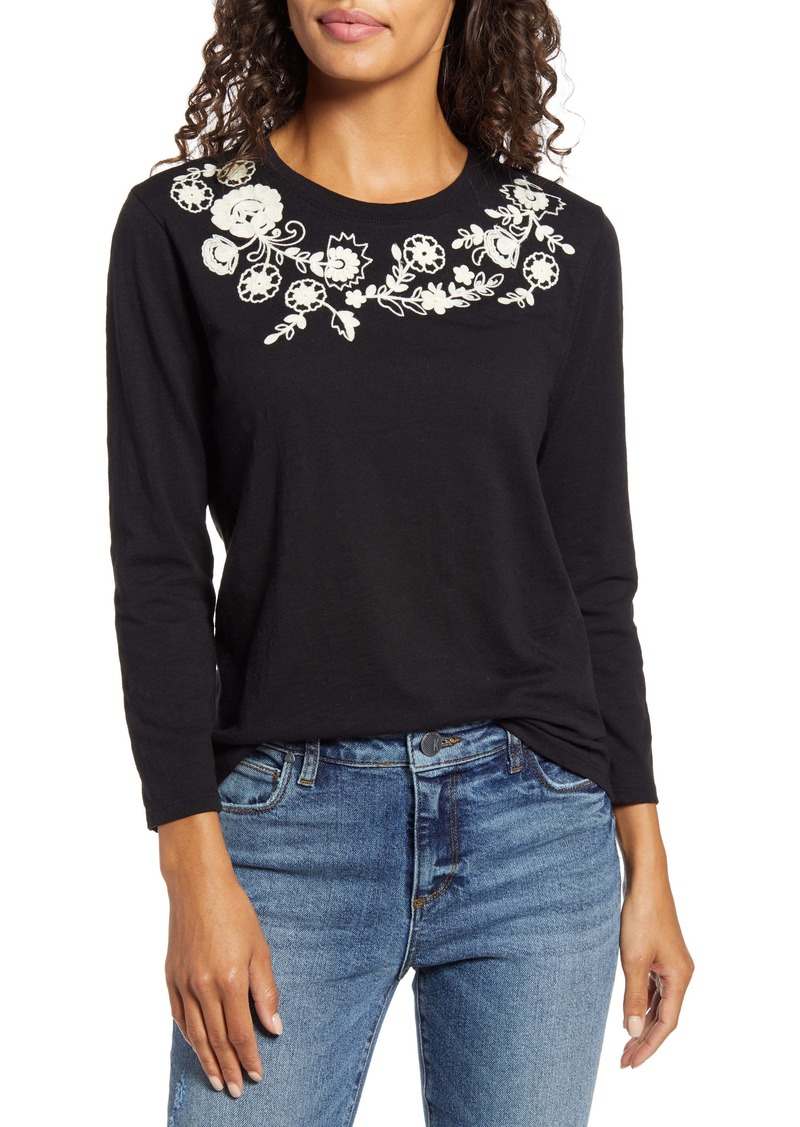 Lucky Brand Embroidered Garland Tee