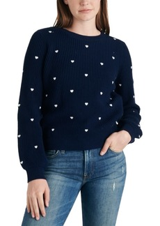 Lucky Brand Embroidered Heart Ribbed Sweater