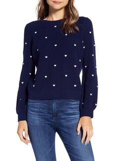 Lucky Brand Embroidered Heart Sweater