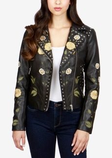 Lucky Brand Embroidered Leather Moto Jacket