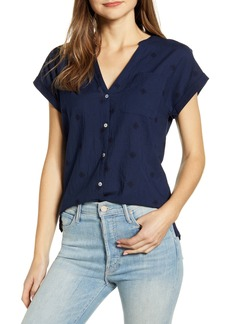Lucky Brand Embroidered Mixed Media Top