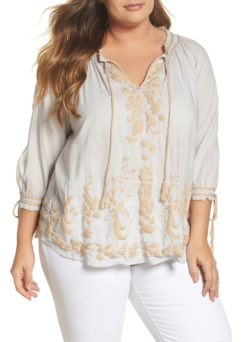 2a4d9725844 SALE! Lucky Brand Lucky Brand Embroidered Peasant Top (Plus Size)