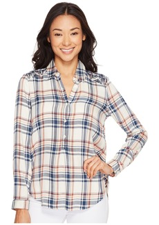 Lucky Brand Embroidered Plaid Top