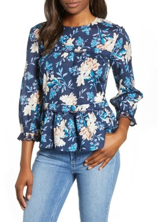 Lucky Brand Embroidered Ruffle Hem Cotton Top