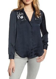 Lucky Brand Embroidered Satin Blouse