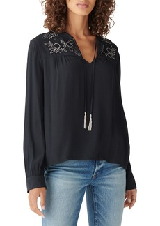 Lucky Brand Embroidered Shine Peasant Top