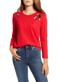 Lucky Brand Embroidered Shoulder Tee