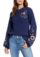 Lucky Brand Embroidered Sleeve Rib Sweater
