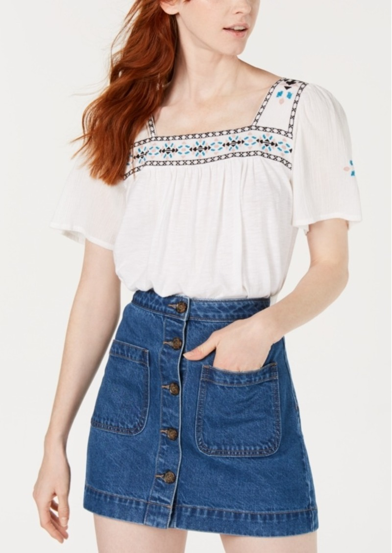 Lucky Brand Embroidered Square Neck Top
