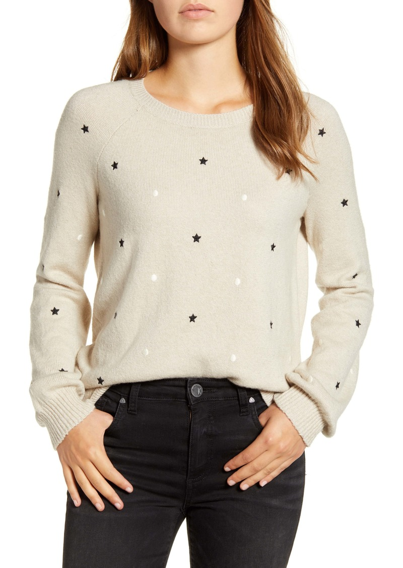 Lucky Brand Embroidered Stars & Dots Pullover