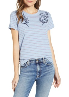 Lucky Brand Embroidered Stripe T-Shirt