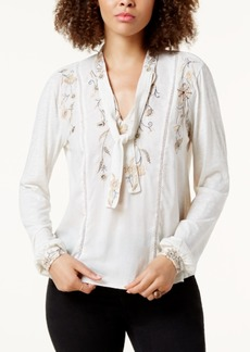 Lucky Brand Embroidered Tie-Neck Top