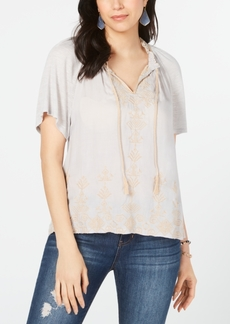 Lucky Brand Embroidered V-Neck Peasant Top