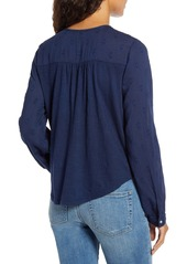Lucky Brand Embroidered Yoke Button Front Top