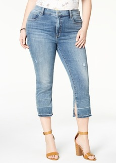Lucky Brand Emma Trendy Plus Size Cuff-Slit Cropped Jeans