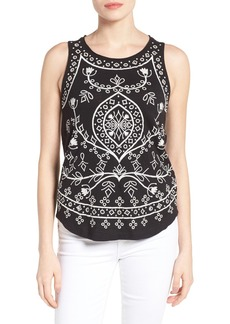 Lucky Brand Eyelet Embroidered Cotton Tank