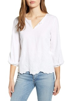 Lucky Brand Eyelet Embroidered Top