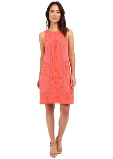 Lucky Brand Eyelet Mixed Knit Dress