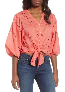 Lucky Brand Eyelet Tie Front Cotton Peasant Blouse
