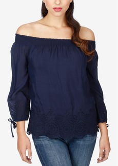 Lucky Brand Eyelet-Trim Off-The-Shoulder Top