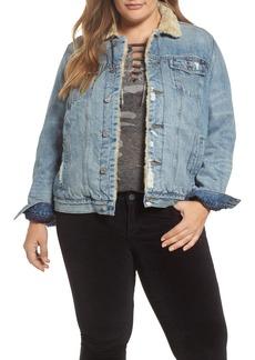 Lucky Brand Faux Fur Collar Trucker Jacket (Wellton) (Plus Size)
