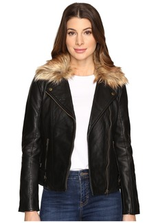 Lucky Brand Faux-Fur Moto Jacket