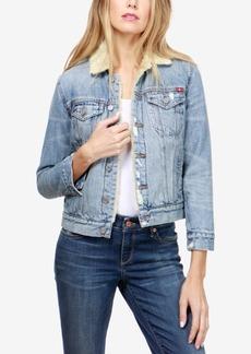 Lucky Brand Faux-Fur-Trim Denim Trucker Jacket