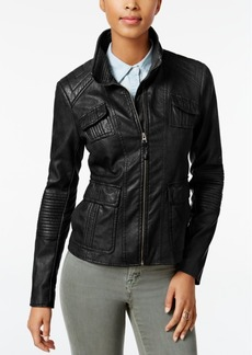 Lucky Brand Faux-Leather Bomber Jacket