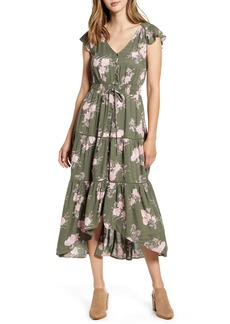 Lucky Brand Felice Tiered Ruffle Midi Dress