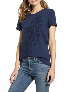 Lucky Brand Flocked Floral Waterfall Tee