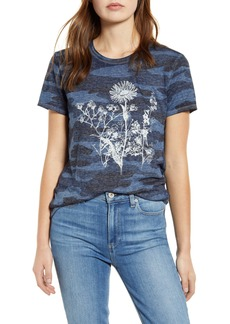 Lucky Brand Floral Camo Print Graphic Tee