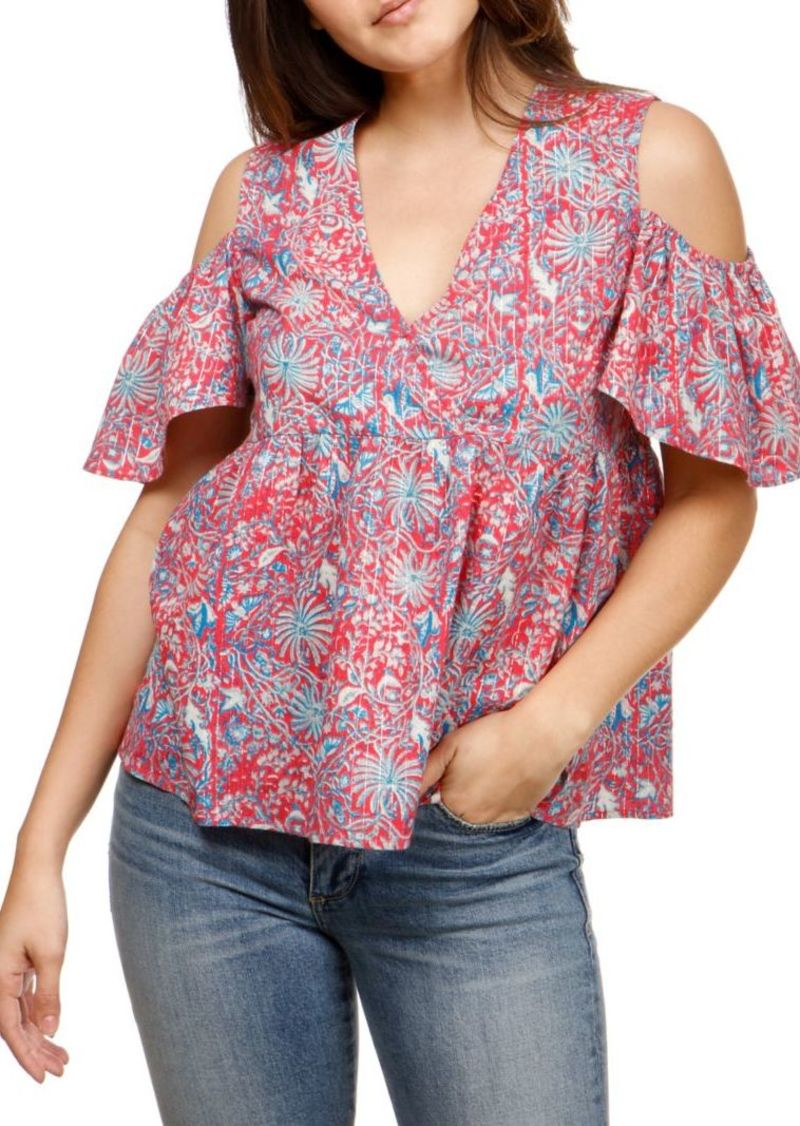 d00546518ab055 Lucky Brand Lucky Brand Floral Cold-Shoulder Top