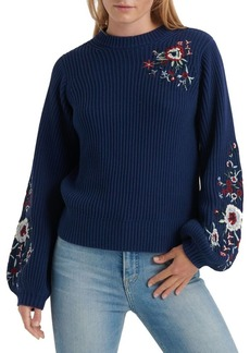 Lucky Brand Floral Embroidered Cotton Sweater
