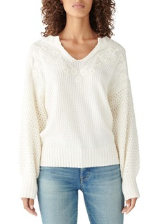 Lucky Brand Floral Embroidered Split-Neck Sweater
