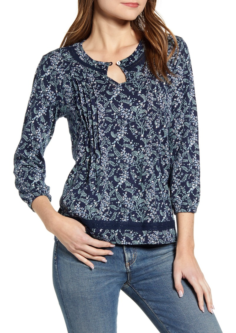 Lucky Brand Floral Pintuck Cotton Peasant Blouse