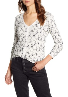 Lucky Brand Floral Print Button Front Thermal Top