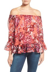 Lucky Brand Floral Print Gauze Off the Shoulder Blouse