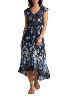 Lucky Brand Floral-Print High-Low Maxi Dress