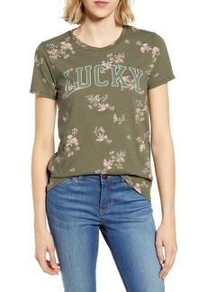 Lucky Brand Floral Print Logo Tee