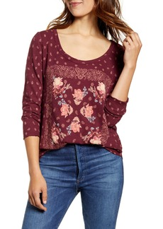 Lucky Brand Floral Print Scoop Neck Top