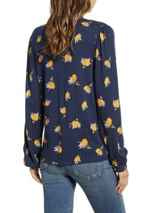 Lucky Brand Floral Print Split Neck Jersey Top
