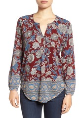 Lucky Brand Floral Print Split Neck Top