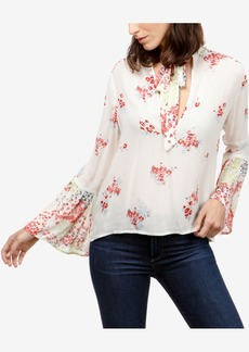 Lucky Brand Floral-Print Tie-Neck Peasant Top