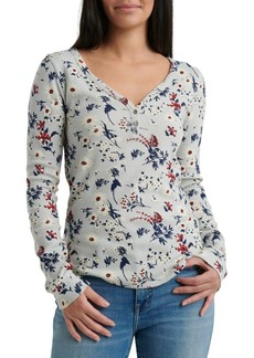 Lucky Brand Floral Printed Thermal Top
