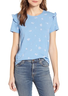 Lucky Brand Floral Ruffle Detail Cotton Top